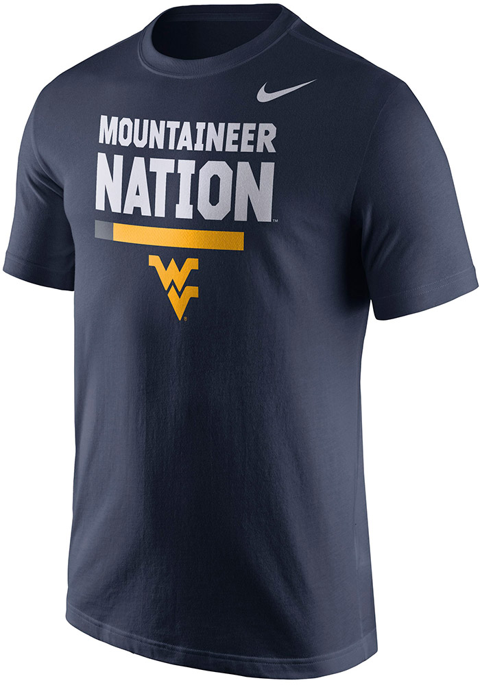 Nike West Virginia Mountaineers Navy Blue Local Short Sleeve T Shirt - Image 1