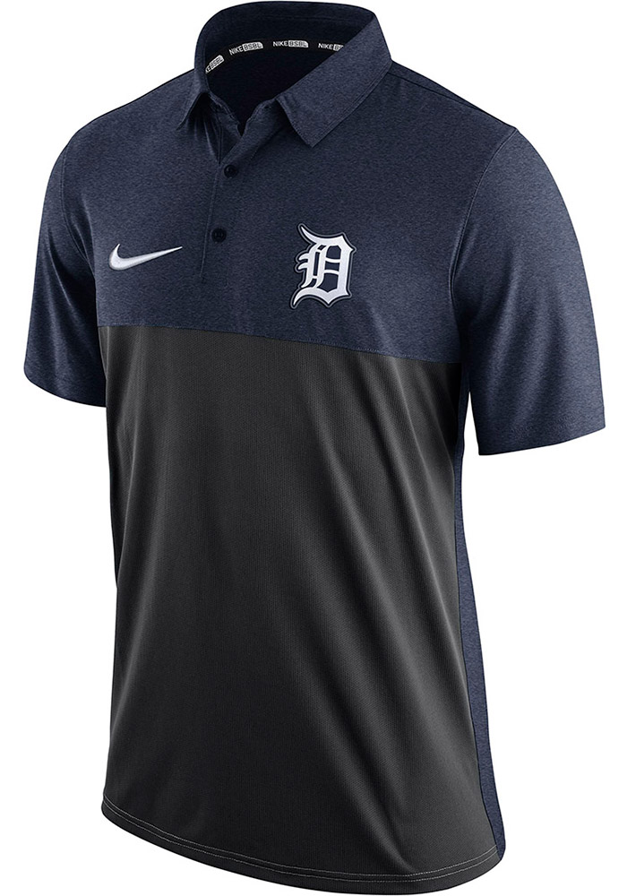 Nike Detroit Tigers Mens Navy Blue AC Elite Short Sleeve Polo - Image 1