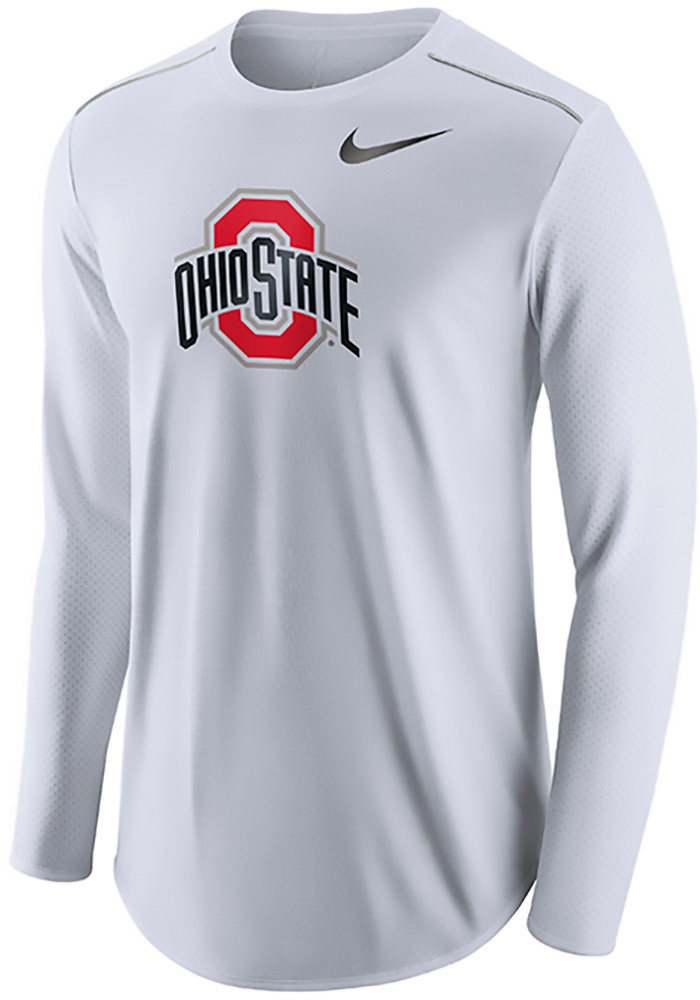 Nike ohio state buckeyes mens white player top long sleeve for Ohio state shirts mens