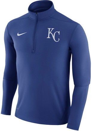 Nike KC Royals Mens Blue Dry Element 1/4 Zip Performance Pullover
