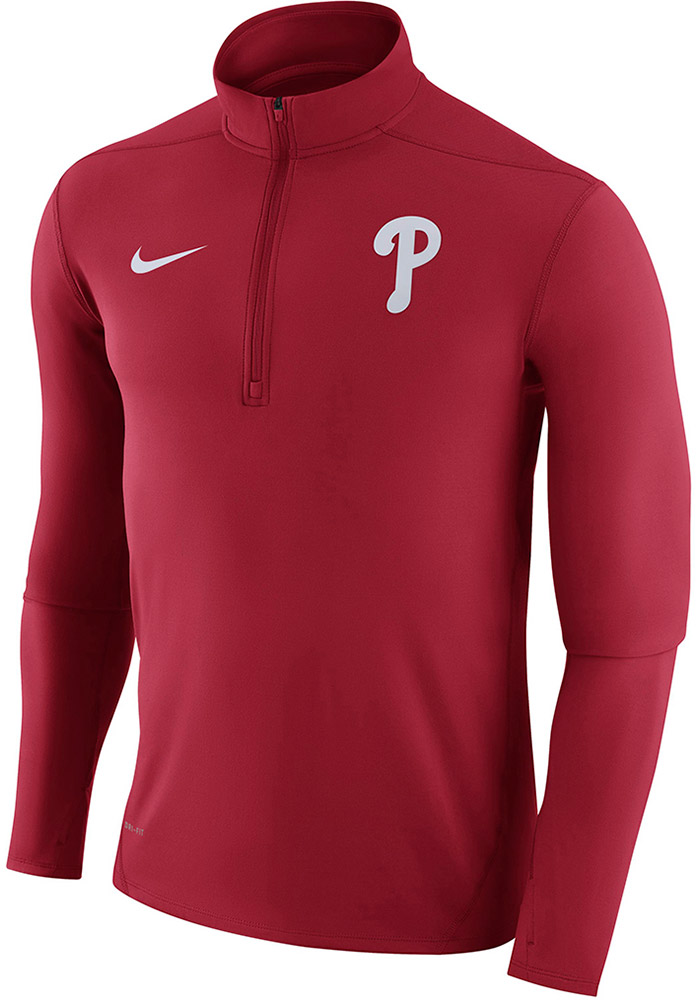 c2822ff6c Nike Philadelphia Phillies Mens Red Dry Element Long Sleeve 1 4 Zip  Pullover - Image