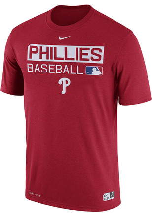 Nike Phillies Mens Red Team Issue Dri-Fit Performance Tee