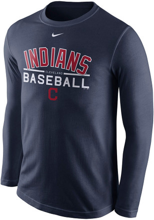 Nike Cleveland Indians Mens Navy Blue Practice Tee