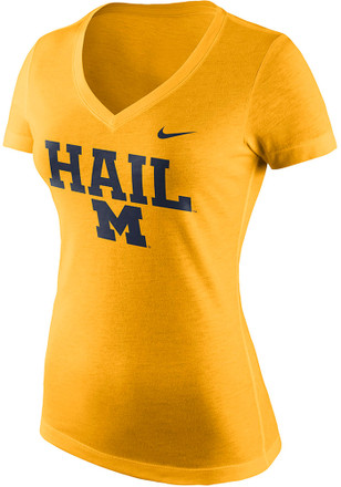 Nike Michigan Wolverines Womens Gold Phrase V-Neck