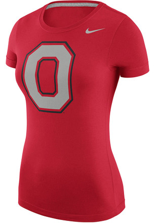Nike Ohio State Buckeyes Womens Logo Red Scoop T-Shirt