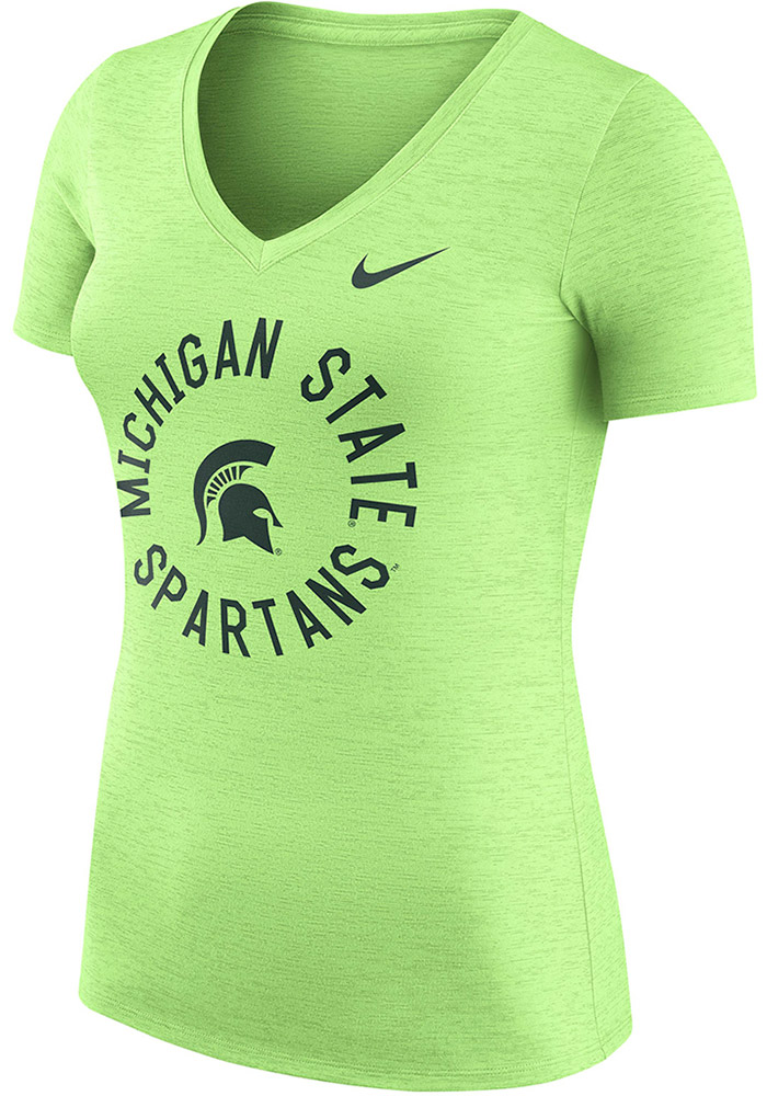 Nike Michigan State Spartans Womens Green Dry Touch T-Shirt, Green, 100% POLYESTER, Size L