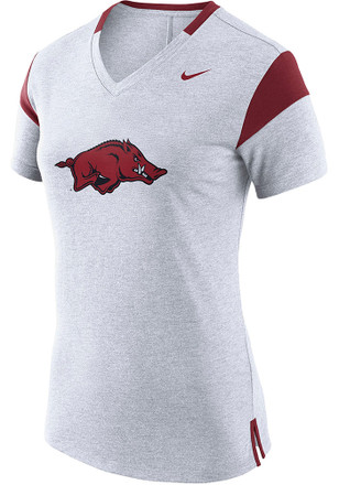 Nike Arkansas Razorbacks Womens Fan White Short Sleeve Tee