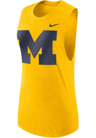 Michigan Wolverines Womens Nike Muscle Tank Top - Yellow