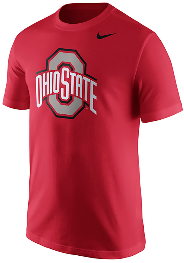 Nike ohio state buckeyes mens red logo short sleeve t for Ohio state shirts mens