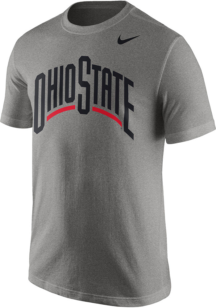 Nike ohio state buckeyes mens grey wordmark short sleeve t for Ohio state shirts mens