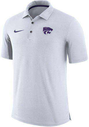 Nike K-State Wildcats Mens White Team Issue Short Sleeve Polo Shirt