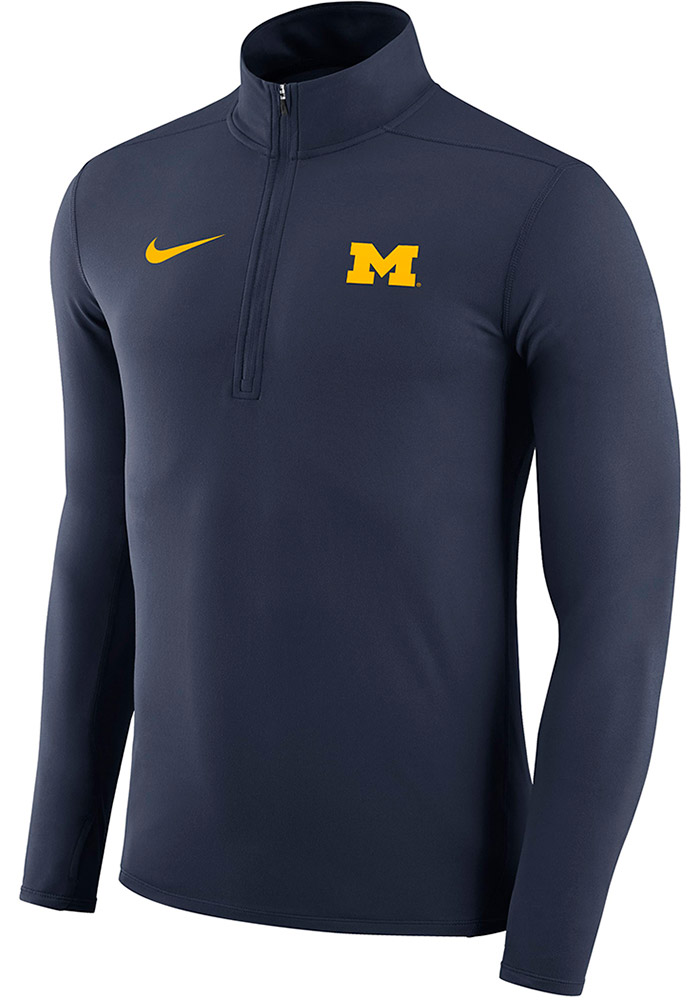 Nike Michigan Wolverines Mens Navy Blue Element Long Sleeve 1/4 Zip Pullover, Navy Blue, 88% POLYESTER / 12% SPANDEX, Size XL