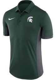 Nike Michigan State Spartans Mens Green Evergreen Short Sleeve Polo