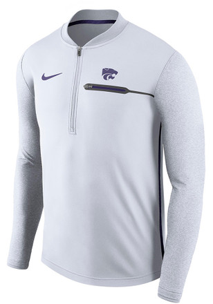 Nike K-State Wildcats Mens White Coaches 1/4 Zip Pullover