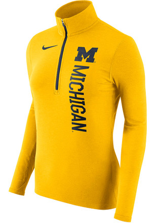 Nike Michigan Wolverines Womens Element Gold 1/4 Zip Pullover