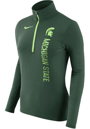 Nike Michigan State Spartans Womens Element Green 1/4 Zip Pullover