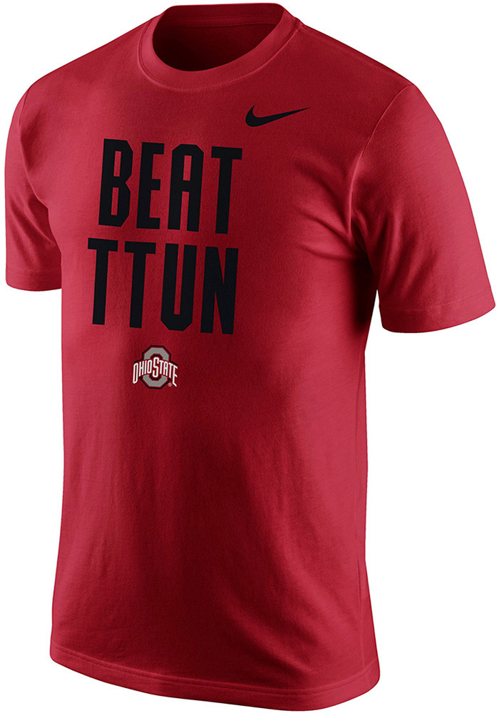 Nike ohio state buckeyes mens red cotton short sleeve t for Ohio state shirts mens