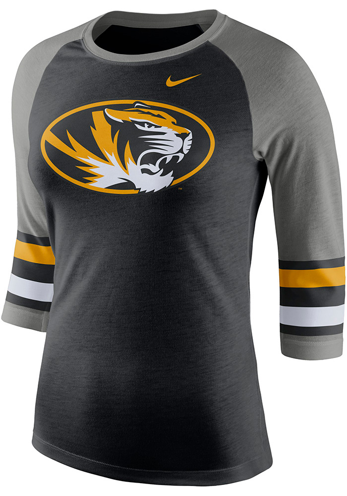 Nike Missouri Tigers Womens Black Stipe Sleeve Raglan Long Sleeve Crew T-Shirt, Black, 52% Cotton / 29% Polyester / 19% Rayon, Size XL
