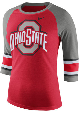 Nike Ohio State Buckeyes Womens Stipe Sleeve Raglan Red T-Shirt