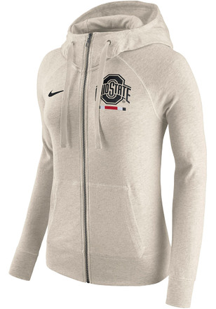 Nike Ohio State Buckeyes Womens Oatmeal Gym Vintage Full Zip Jacket