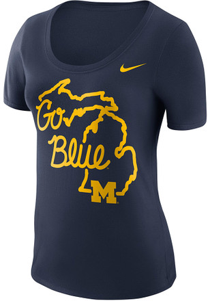 Nike Michigan Wolverines Womens Local Elements Navy Blue Scoop T-Shirt