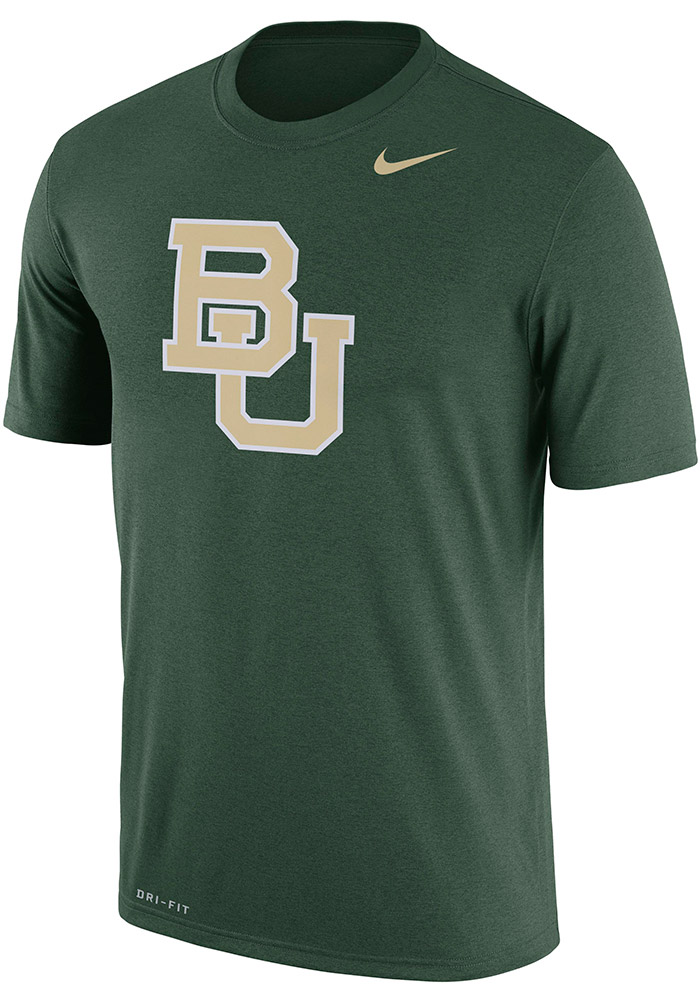 Nike Baylor Bears Mens Green Legend Short Sleeve T Shirt, Green, 100% POLYESTER, Size S