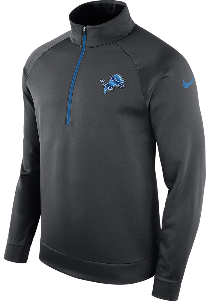 Nike Detroit Lions Mens Grey Therma Long Sleeve 1/4 Zip Pullover, Grey, 100% POLYESTER, Size S
