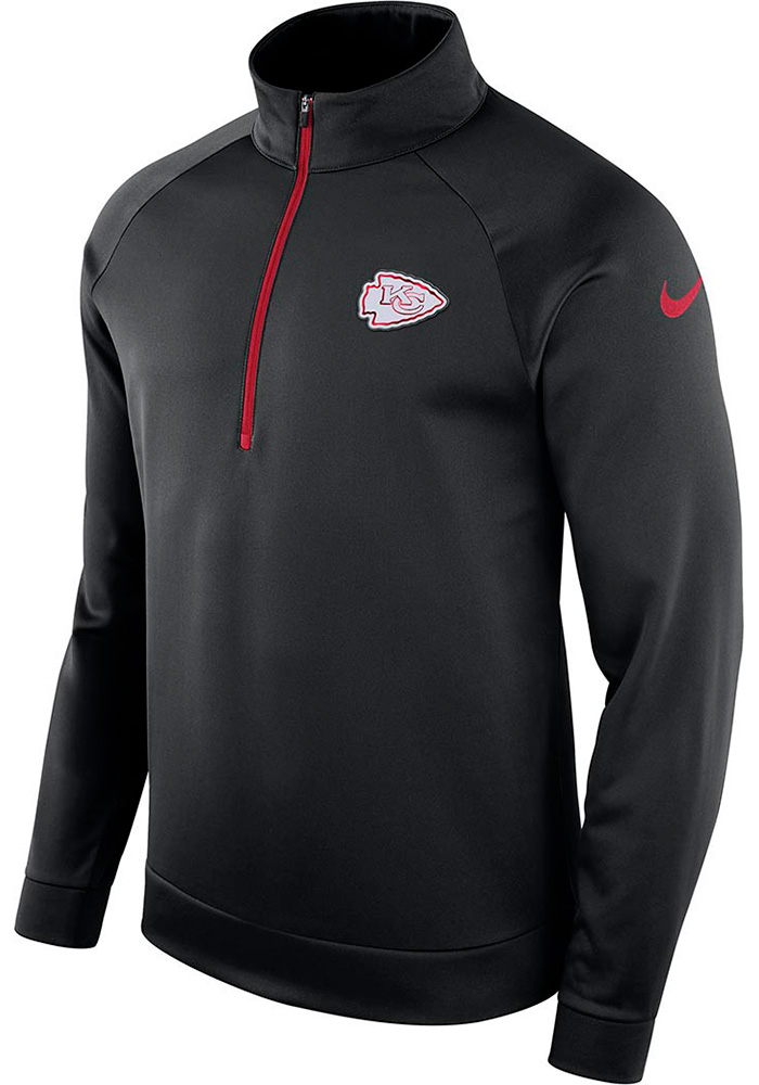 Nike Kansas City Chiefs Mens Black Therma Long Sleeve 1/4 Zip Pullover, Black, 100% POLYESTER, Size M