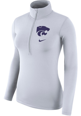Nike K-State Wildcats Womens Top White 1/4 Zip Pullover