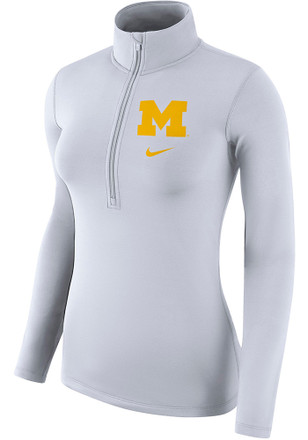 Nike Michigan Wolverines Womens Top White 1/4 Zip Pullover