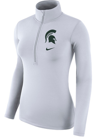 Nike Michigan State Spartans Womens Top White 1/4 Zip Pullover