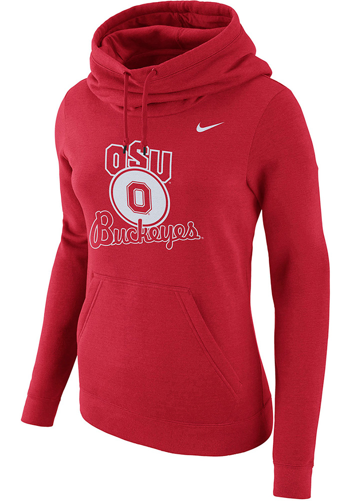 Nike Ohio State Buckeyes Womens Red Club Funnel Hooded Sweatshirt, Red, 52% COTTON/ 28% RAYON/ 20% POLYESTER, Size S