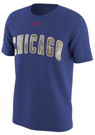 Nike Chicago Cubs Mens Blue Memorial Day Tee