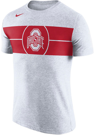 Nike Ohio State Buckeyes Mens White Bball Logo Fashion Tee