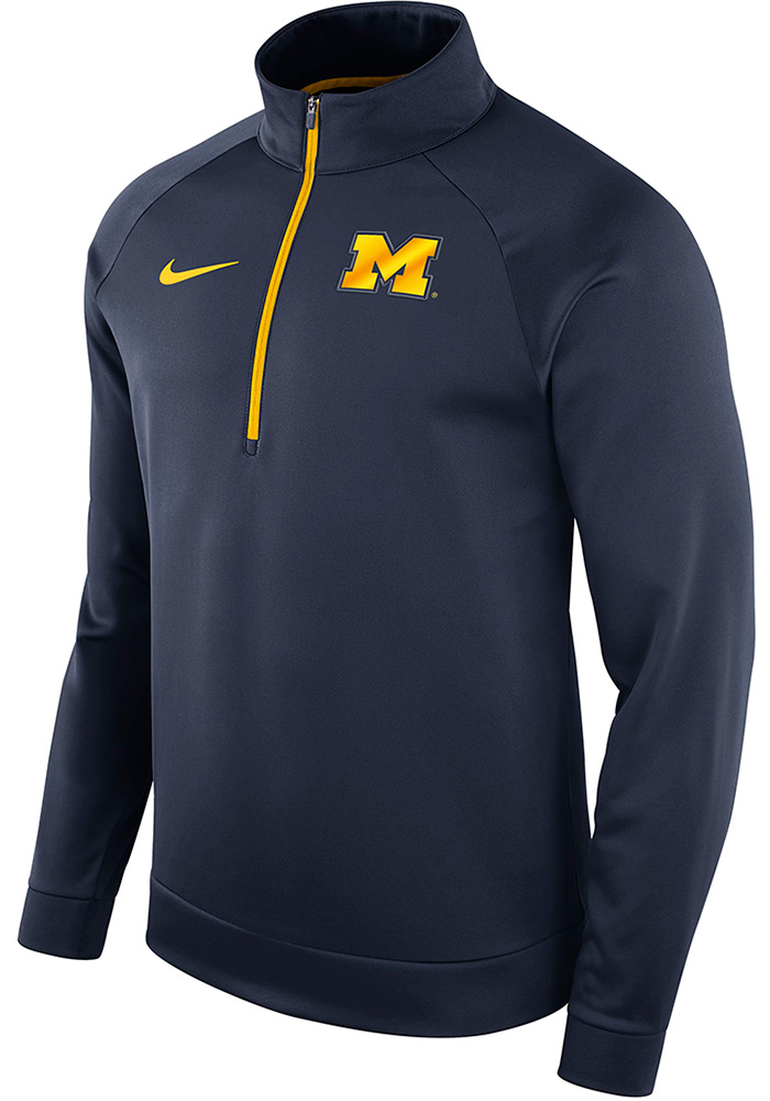 Nike Michigan Wolverines Mens Navy Blue Therma Long Sleeve 1/4 Zip Pullover, Navy Blue, 100% POLYESTER, Size L