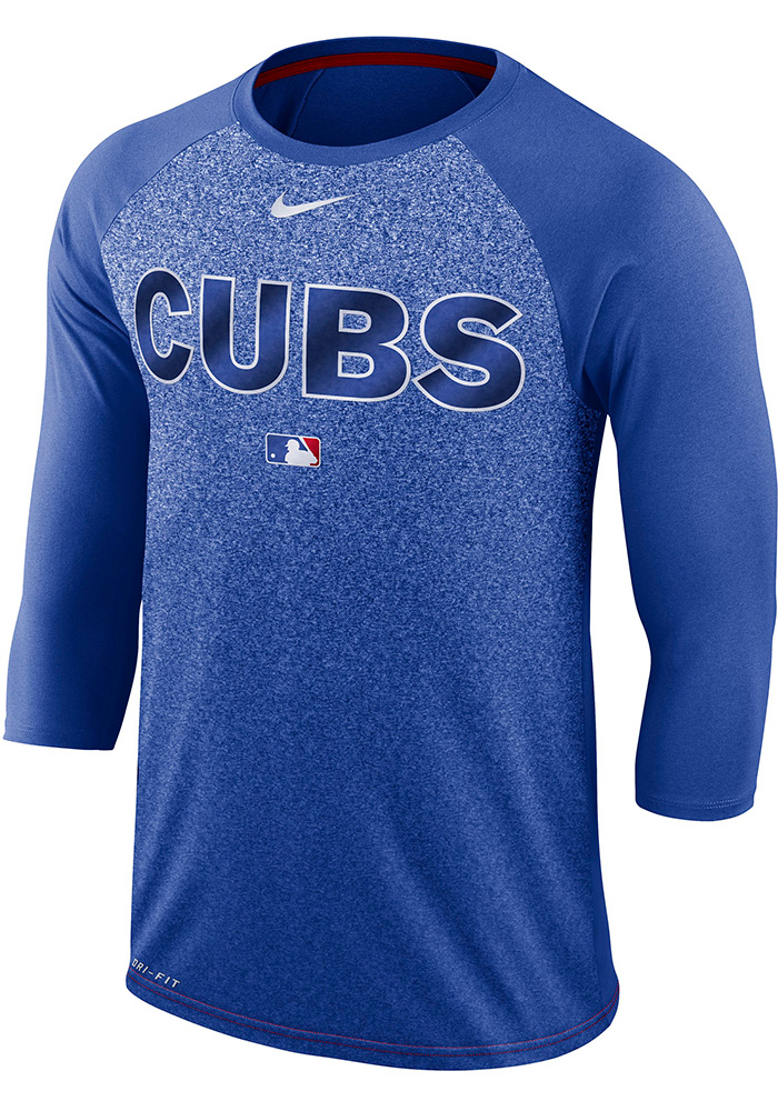 928df3bc091 Nike Chicago Cubs Blue Raglen Cross-Dye Fade Tee