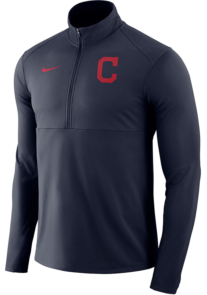 Nike Cleveland Indians Mens Navy Blue Element Long Sleeve 1 4 Zip Pullover  - Image a2581968f