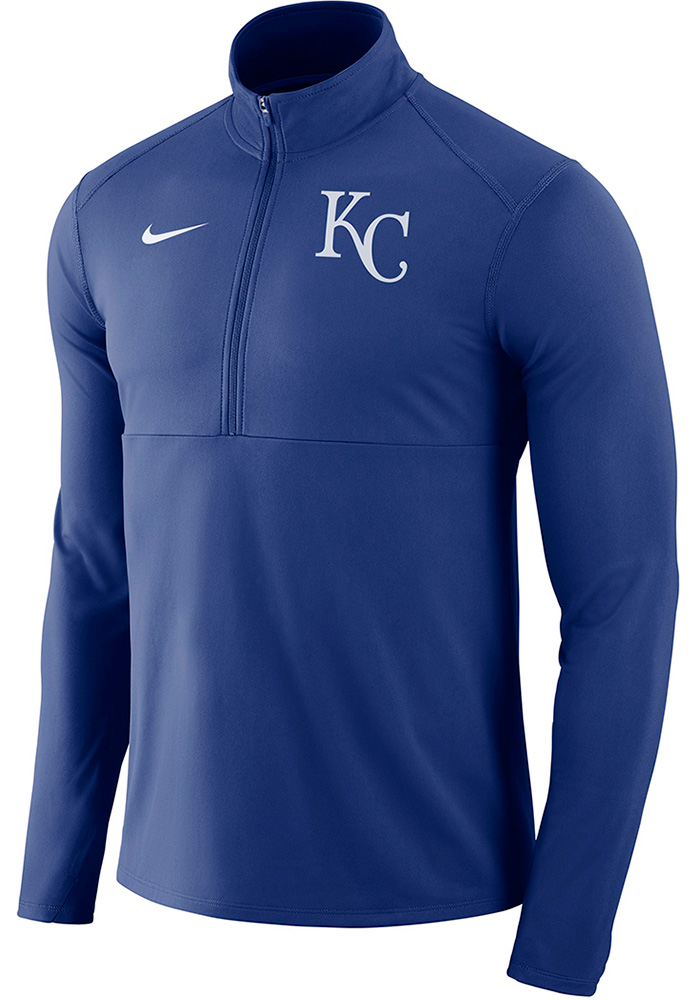 Nike Kansas City Royals Mens Blue Element Long Sleeve 1/4 Zip Pullover - Image 1