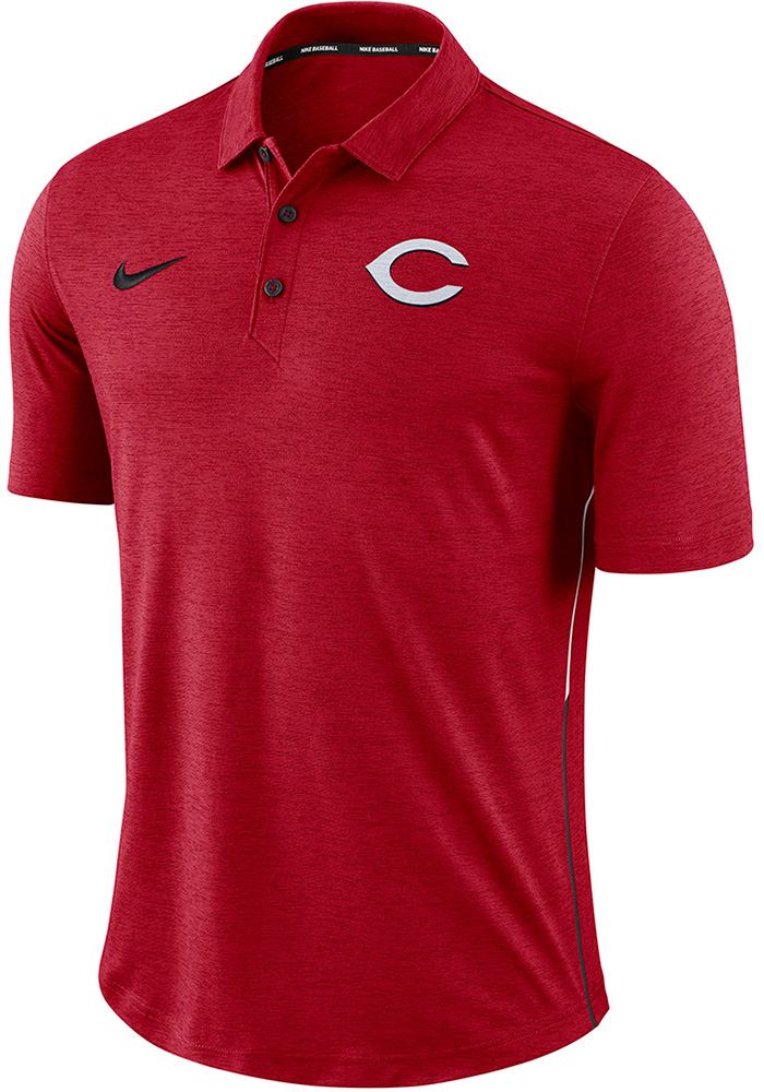 Nike Cincinnati Reds Mens Red Breathe Polo Touch Short Sleeve Polo - Image 1