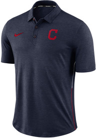 Nike Cleveland Indians Mens Navy Blue Breathe Polo Touch Short Sleeve Polo Shirt