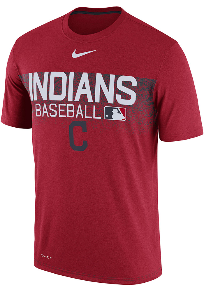 Nike Cleveland Indians Red AC LGD Team Issue Tee Short Sleeve T Shirt - Image 1
