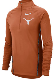 Texas Longhorns Womens Nike Top 1/2 Zip 1/4 Zip - Burnt Orange