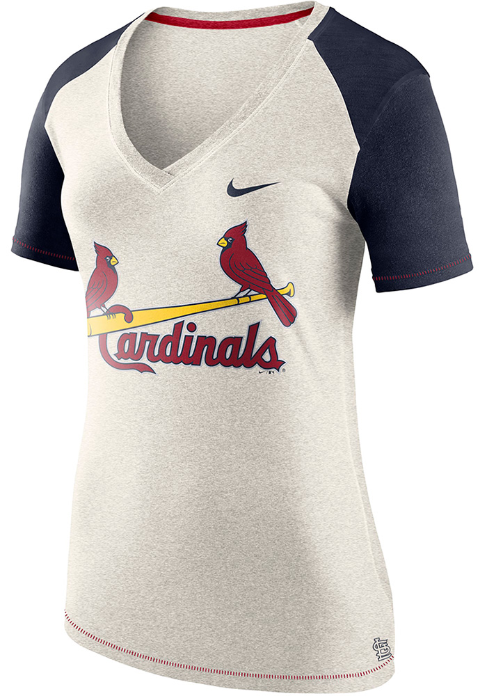 Nike St Louis Cardinals Womens Oatmeal Fan Top V-Neck T-Shirt - Image 1