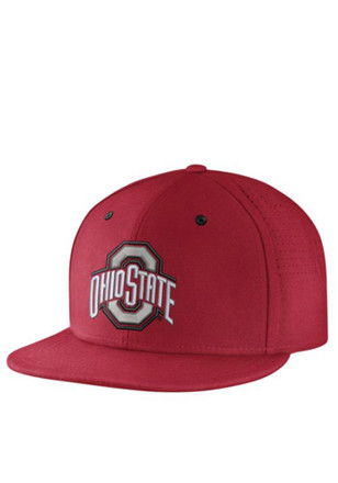 The Ohio State University Nike Mens Red Authentic Baseball Fitted Hat