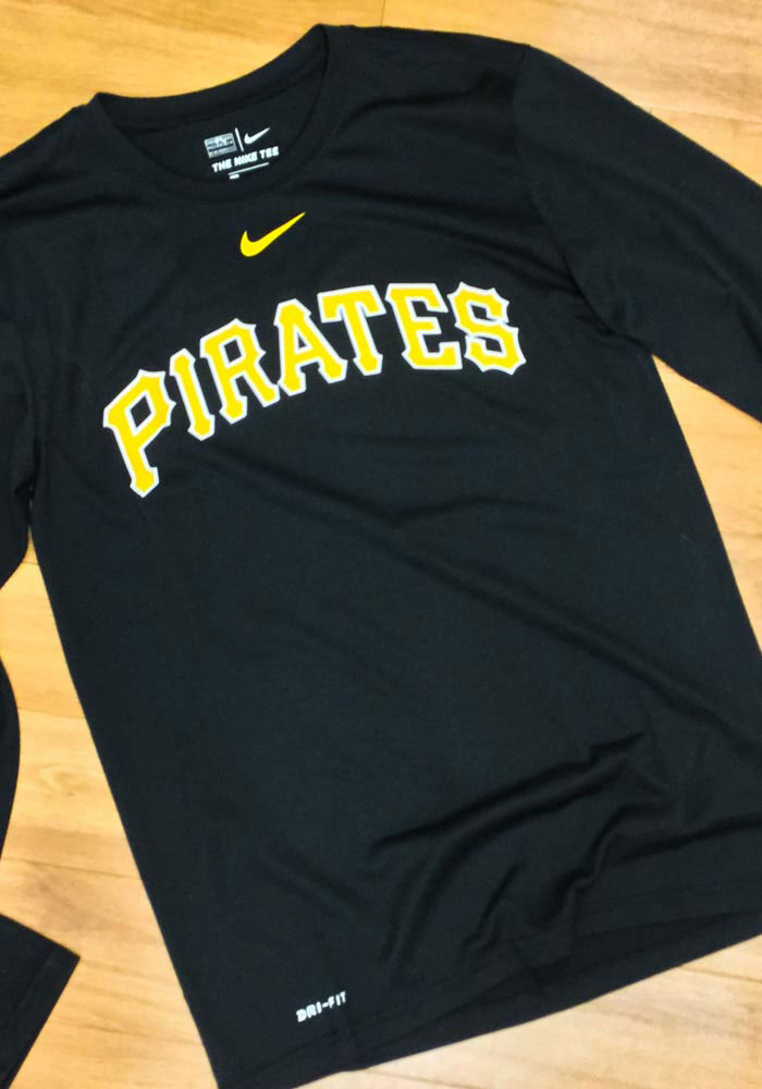 Nike Pittsburgh Pirates Black Legend Wordmark Long Sleeve T-Shirt - Image 3