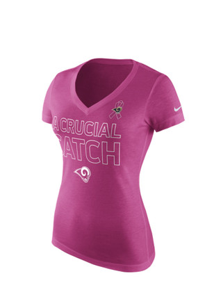 Nike St Louis Rams Womens Pink 2015 BCA Tri-Blend V-Neck