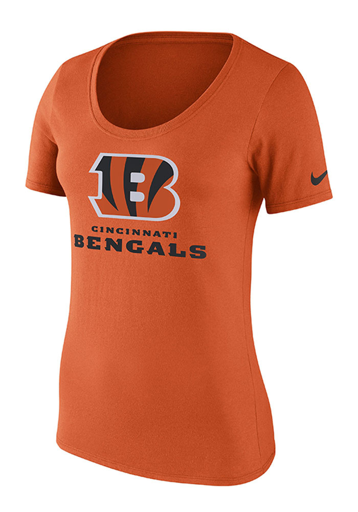 Nike Cincinnati Bengals Womens Orange Lockup Scoop T-Shirt - Image 1