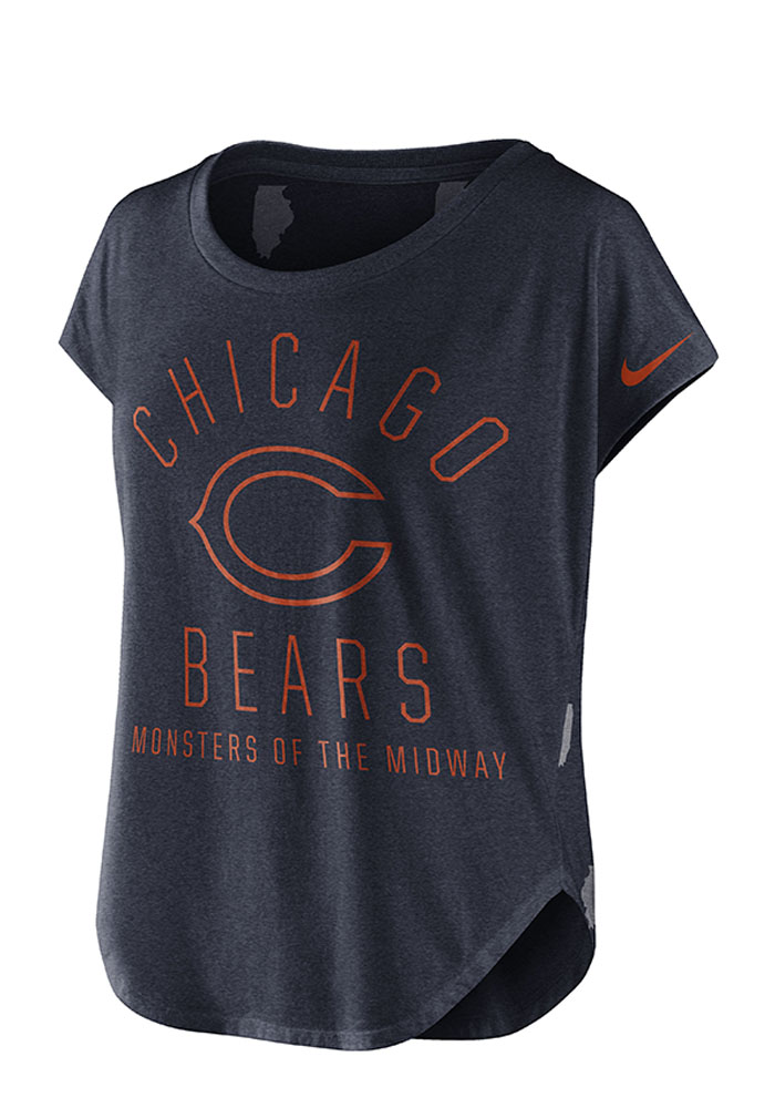Nike Chicago Bears Womens Navy Blue Game Day Signal Scoop T-Shirt - Image 1