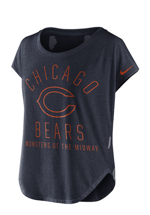 Nike Chicago Bears Womens Game Day Signal Navy Blue Scoop T-Shirt
