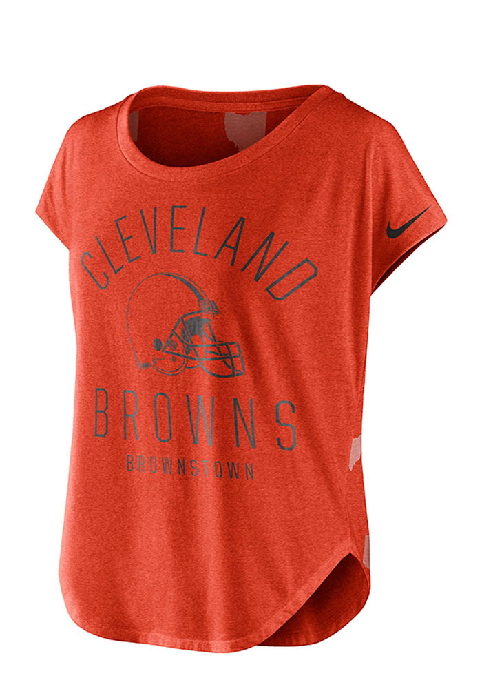 Nike Cleveland Browns Womens Orange Game Day Signal Scoop T-Shirt - Image 1